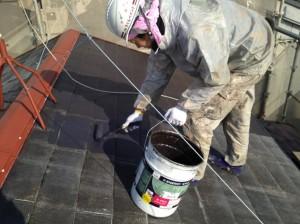 柴山様屋根中塗り