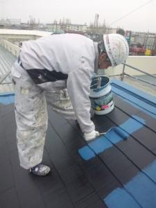 西尾様屋根仕上げ塗り