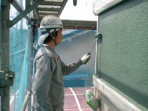 福富様外壁仕上げ塗り1回目